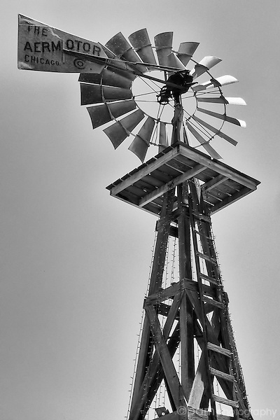 Black and white image of windmill