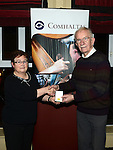 Patricia Hayes P.R.O. for Louth County Board of Comhaltas Ceoltóirí Éireann presents the Gaeilge Abú award to Bartle Woods. Photo:Colin Bell/pressphotos.ie