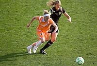 Kelly Parker (left) and Leslie Osborne (right) chase after the ball. FC Gold Pride defeated Sky Blue FC 1-0 at Buck Shaw Stadium in Santa Clara, California on May 3, 2009.