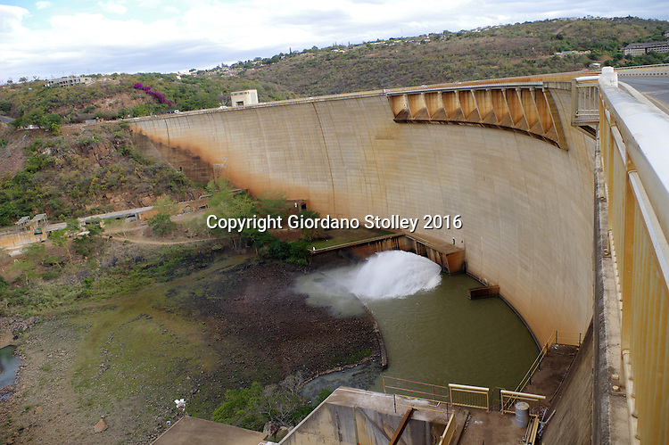 JOZINI - 2 July 2016 - The Pongolapoort Dam as seen from opposite the town of Jozini in northern KwaZulu-Natal. Built in 1973, this arch dam was the laargest in South Africa at the time of its construction. The Pongola river is the main river that feeds into the reservoir behind the dam wall, commonly known as Lake Jozini. The primary purpose of the dam was for irrigation. Picture: Allied Picture Press/APP