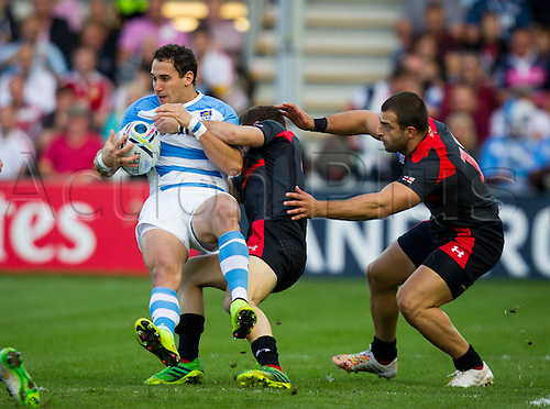 25.09.2015. Kingsholm, Gloucester, England. Rugby World Cup. Argentina versus Georgia. Joaquin Tuculet of Argentina looks to take the ball to ground.