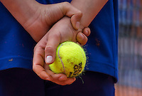 Paris, France, 23 june, 2016, Tennis, Roland Garros, Ballkid holding Roland Garros ball<br /> Photo: Henk Koster/tennisimages.com
