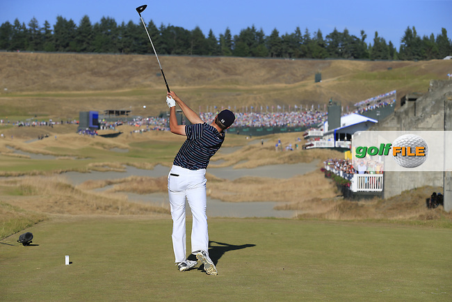 Jordan Speith (USA) tees off the 18th tee during Sunday's Final Round of the 2015 U.S. Open 115th National Championship held at Chambers Bay, Seattle, Washington, USA. 6/22/2015.<br /> Picture: Golffile | Eoin Clarke<br /> <br /> <br /> <br /> <br /> All photo usage must carry mandatory copyright credit (&copy; Golffile | Eoin Clarke)