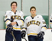 Joe Campanelli (Bentley - 16), Aaron Stonacek (Bentley - 18) - The Bentley University Falcons defeated the visiting Sacred Heart University Pioneers 6-2 in their home opener on November 3, 2010, at John A. Ryan Skating Center in Watertown, Massachusetts.