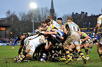 Bath Rugby drive towards the Wasps line. Aviva Premiership match, between Bath Rugby and Wasps on February 20, 2016 at the Recreation Ground in Bath, England. Photo by: Patrick Khachfe / Onside Images