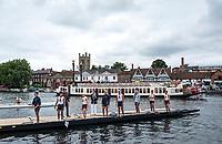 Henley-on-Thames. United Kingdom.  Kent School prepare to boat fortheir heat in the Pricess Elizabeth Challenge Cup, 2017 Henley Royal Regatta, Henley Reach, River Thames. <br /> <br /> <br /> 14:32:58  Thursday  29/06/2017   <br /> <br /> [Mandatory Credit. Peter SPURRIER/Intersport Images.