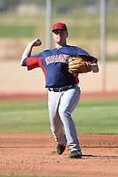 Cleveland Indians third baseman Nathan Winfrey (10) during an Instructional League game against the Seattle Mariners on October 1, 2014 at Goodyear Training Complex in Goodyear, Arizona.  (Mike Janes/Four Seam Images)