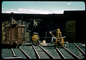 End view box car, water car, derrick<br /> D&amp;RGW  Durango, CO