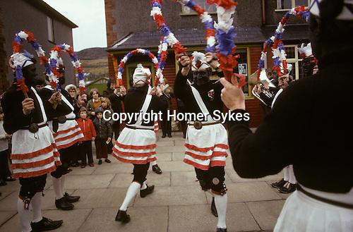 Britannia Coconut Dancers. Bacup Coconut Dancers, Bacup Lancashire UK 1974