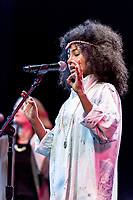 (Photo by Don Milici, Freelance)<br /> Esperanza Spalding is Occidental College's 2018 Hume Fellow in the Performing Arts. She performed in Thorne Hall, Friday, February 2, 2018 after instructing a small group of students in a master class.<br /> A four-time Grammy Award-winner, activist, and educator, Esperanza Spalding has, in the past decade of artistic journey, continually married genres, pushed boundaries and created groundbreaking work. Spalding is, as a musician, composer, vocalist and lyricist, expansive, iterative and shape-shifting, open and progressively innovative. A voracious live performer, she is attentive in her studies towards what the process of playing live —whether sharing the stage with Herbie Hancock, Prince, or the LA Philharmonic— presents to the structure of a song. That channeled energy runs through her catalogue of dozens of collaborative and six solo albums.<br /> <br /> Sponsor: Music, Oxy Arts<br /> <br /> (Photo by Don Milici, Freelance)