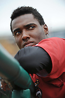 Altoona Curve infielder Alen Hanson (22) during game against the Trenton Thunder at ARM & HAMMER Park on August 6, 2014 in Trenton, NJ.  Trenton defeated Altoona 7-3.  (Tomasso DeRosa/Four Seam Images)