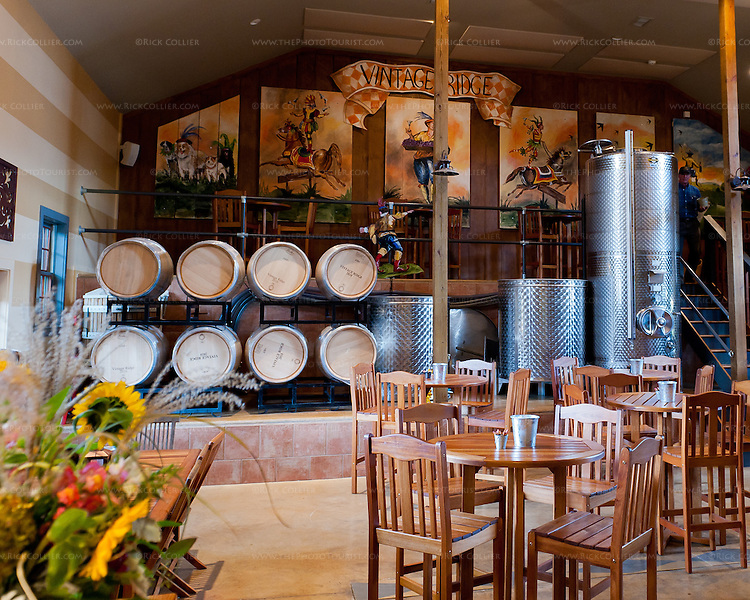 The tasting room at Vintage Ridge Vineyards (Delaplane VA) is right in the winery's work area; the tanks and barrels serve double-duty as wine-themed decor items.