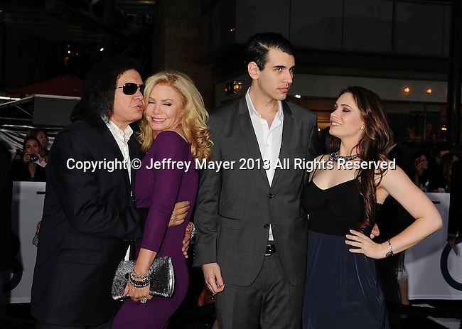 HOLLYWOOD, CA- APRIL 10: Gene Simmons, Shannon Tweed, Son, Nick Simmons, Daughter, Sophie Simmons, arrive at the 'Oblivion' - Los Angeles Premiere at Dolby Theatre on April 10, 2013 in Hollywood, California.