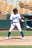 Glendale Desert Dogs shortstop Errol Robinson (3), of the Los Angeles Dodgers organization, at bat during an Arizona Fall League game against the Scottsdale Scorpions at Camelback Ranch on October 16, 2018 in Glendale, Arizona. Scottsdale defeated Glendale 6-1. (Zachary Lucy/Four Seam Images)