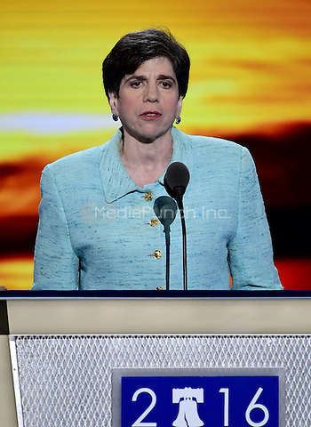 Rabbi Julie Schonfeld of White Plains, New York makes the closing prayer for the first session of the 2016 Democratic National Convention at the Wells Fargo Center in Philadelphia, Pennsylvania on Monday, July 25, 2016.<br /> Credit: Ron Sachs / CNP/MediaPunch<br /> (RESTRICTION: NO New York or New Jersey Newspapers or newspapers within a 75 mile radius of New York City)