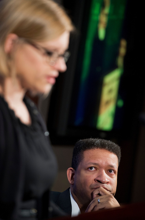 "UNITED STATES - JANUARY 28:  Former Rep. Artur Davis, D-Ala., fellow at the Institute of Politics at Harvard University, and Lindsey Burke, fellow in education at the Heritage Foundation, conduct a discussion at the Foundation entitled ""Choosing to Succeed: A Conversation about Educational Opportunity."" (Photo By Tom Williams/CQ Roll Call)"
