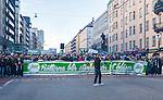 Stockholm 2014-04-14 Fotboll Superettan Hammarby IF - Degerfors IF :  <br /> Hammarby supportrar med en banderoll vid Skanstull under marschen fr&aring;n Medborgarplatsen till Tele2 Arena<br /> (Foto: Kenta J&ouml;nsson) Nyckelord:  HIF Bajen Degerfors  supporter fans publik supporters