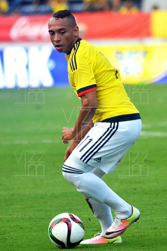 BARRANQUILLA- COLOMBIA, 25-03-2016:  Jarlan Barrera jugador de Colombia en acción durante el encuentro de ida con EEUU (Categoría Sub 23) por el repechaje por el último lugar para el Torneo Olímpico de Fútbol Rio 2016 jugado en el estadio Metropolitano Roberto Meléndez de Barranquilla ./ Jarlan Barrera player of Colombia in action during the forst leg match with USA (Category U-23 ) for the playoff for the last spot to the Olympic Football Tournament Rio 2016 played at Roberto Melendez stadium in Barranquilla city. Photos: VizzorImage / Alfonso Cervantes / Str.  Photo: VizzorImage/Alfonso Cervantes/STR