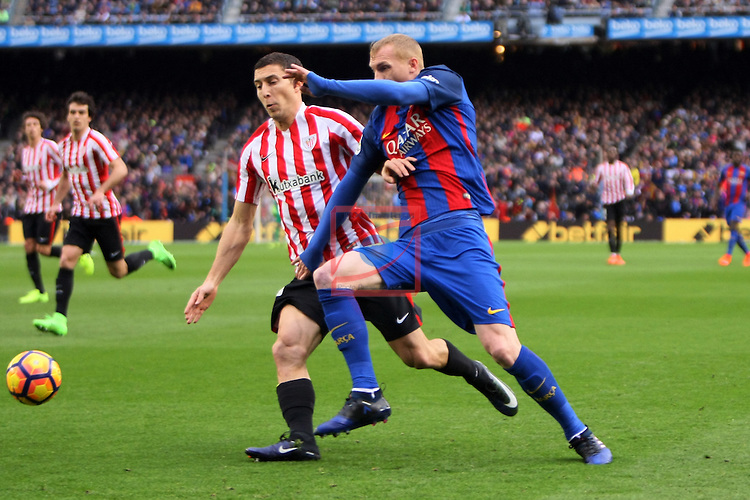 League Santander 2016/2017. Game: 21.<br /> FC Barcelona vs Athletic Club: 3-0.<br /> De Marco vs Jeremy Mathieu.