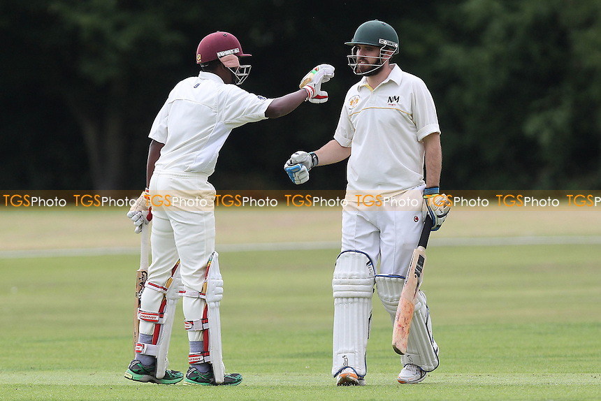 Matthew Tarr of Gidea Park (R) is congratulated on his fifty by Jamal Francis - Gidea Park & Romford CC vs Horndon-on-the-Hill CC - Essex Cricket League at Gallows Corner - 30/08/14 - MANDATORY CREDIT: Gavin Ellis/TGSPHOTO - Self billing applies where appropriate - contact@tgsphoto.co.uk - NO UNPAID USE