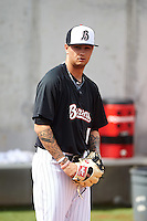 Birmingham Barons pitcher Jordan Guerrero (11) throws in the bullpen before a game against the Pensacola Blue Wahoos on May 2, 2016 at Regions Field in Birmingham, Alabama.  Pensacola defeated Birmingham 6-3.  (Mike Janes/Four Seam Images)