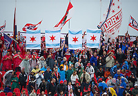 The Chicago Fire Fans show their presence during an MLS game between the Chicago Fire and the Toronto FC at BMO Field in Toronto on May 14, 2011.