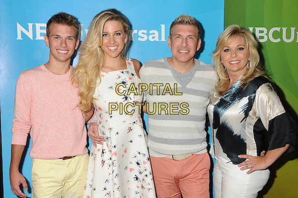 14 July 2014 - Beverly Hills, California - Chase Crisley, Savannah Chrisley, Todd Chrisley, Julie Chrisley. NBC Universal Press Tour Summer 2014 held at the Beverly Hilton Hotel. <br /> CAP/ADM/BP<br /> &copy;Byron Purvis/AdMedia/Capital Pictures