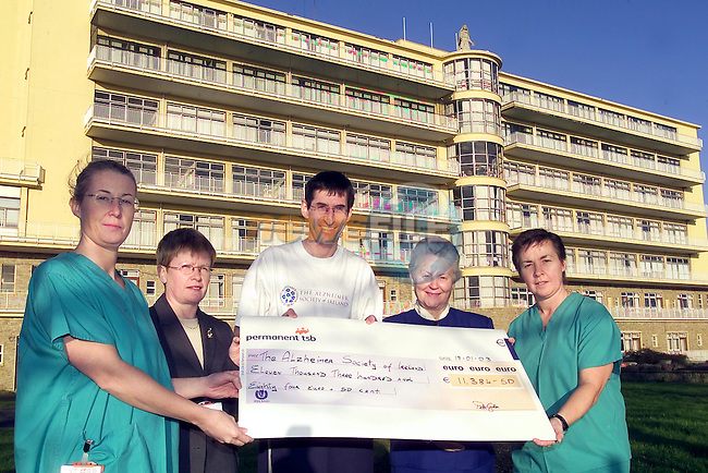 ..Pictured at the recent photocall to mark the impressive sum of Û11,384.50 which was raied by Dr. Peter Gillen, Consultant Surgeon with the Lady Of Lourdes Hospital on behalf of the Alzheimer Society wereBreda Tiernan, mary Lenihan Mr Peter Gillan, Anne Dunne and Mary Hoey. The monies raised were as a result of Peter's successful participation in the New York Marathon last November in which he completed the race in an exceptionally fast time of just over three 3hrs 20minutes. Peter was inspired to help the society as a result of loosing his own mother, Kathleen tragically died last year from Dementia.                                                                                                                                                                                                                                                                                                                                                                                                              ..Picture Fran Caffrey Newsfile...This Picture is sent to you by:..Newsfile Ltd.The View, Millmount Abbey, Drogheda, Co Louth, Ireland..Tel: +353419871240.Fax: +353419871260.GSM: +353862500958.ISDN: +353419871010.email: pictures@newsfile.ie.www.newsfile.ie