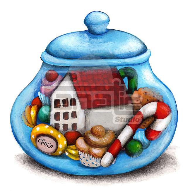 Illustration of sweets in container over white background