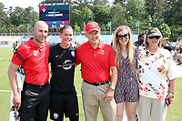Cary, North Carolina  - Saturday April 29, 2017: Aaron Lines, Ashlyn Harris, Joe Sahlen, Alex Sahlen, and Anita Sahlen during a pregame ceremony honoring the Western New York Flash for winning the 2016 NWSL championship prior to regular season National Women's Soccer League (NWSL) match between the North Carolina Courage and the Orlando Pride at Sahlen's Stadium at WakeMed Soccer Park.