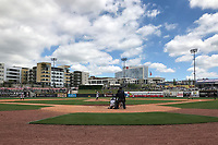 General view of a Birmingham Barons game against the Jacksonville Jumbo Shrimp on April 24, 2017 at Regions Field in Birmingham, Alabama.  Jacksonville defeated Birmingham 4-1.  (Mike Janes/Four Seam Images)