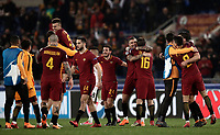 Football Soccer: UEFA Champions League  Round of 16 Second Leg, AS Roma vs FC Shakhtar Donetsk, Stadio Olimpico Rome, Italy, March 13, 2018. <br /> Roma's players celebrate after winning 1-0 the Uefa Champions League football soccer match between AS Roma and FC Shakhtar Donetsk at Rome's Olympic stadium, March 13, 2018.<br /> UPDATE IMAGES PRESS/Isabella Bonotto