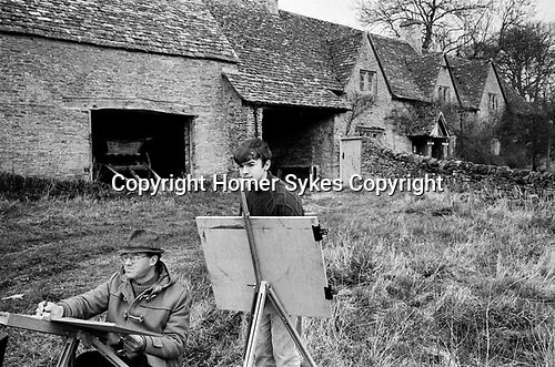 Upper Slaughter, Gloucestershire 1975. England. Week end art class.