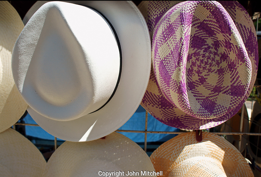 Panama style straw hats or jipijapa hats for sale in Merida, Yucatan, Mexico..