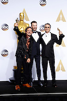 LOS ANGELES - FEB 28:  Mark Mangini, Chris Evans, David White at the 88th Annual Academy Awards - Press Room at the Dolby Theater on February 28, 2016 in Los Angeles, CA