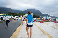 Rio de Janeiro. BRAZIL General view of the boat park.  with low laying cloud. 2016 Olympic Rowing Regatta. Lagoa Stadium,<br /> Copacabana,  &ldquo;Olympic Summer Games&rdquo;<br /> Rodrigo de Freitas Lagoon, Lagoa. Local Time 06:48:04  Tuesday  09/08/2016<br /> [Mandatory Credit; Peter SPURRIER/Intersport Images]