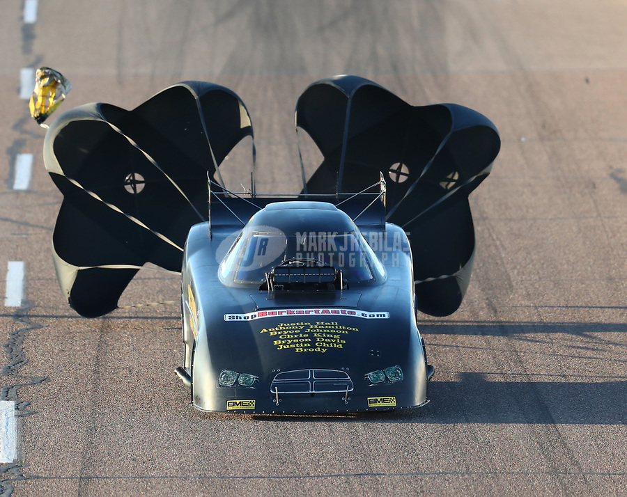 Feb 23, 2019; Chandler, AZ, USA; NHRA funny car driver Phil Burkhart during qualifying for the Arizona Nationals at Wild Horse Pass Motorsports Park. Mandatory Credit: Mark J. Rebilas-USA TODAY Sports
