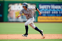 Lakeland Flying Tigers catcher Arvicent Perez (45) running the bases during the first game of a doubleheader against the Clearwater Threshers on June 14, 2017 at Spectrum Field in Clearwater, Florida.  Lakeland defeated Clearwater 5-1.  (Mike Janes/Four Seam Images)