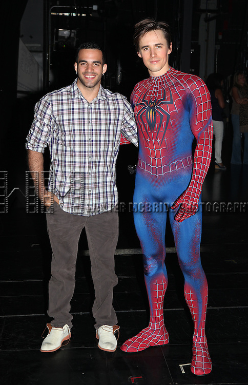 Danell Leyva meets Reeve Carney and the 9 Spider-Men of SPIDER-MAN Turn Off The Dark at the The Foxwoods Theater on August 23, 2012 in New York City.