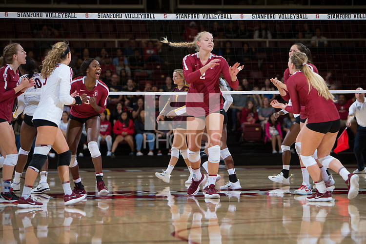 STANFORD, CA - September 9, 2018: Kathryn Plummer, Tami Alade, Morgan Hentz, Jenna Gray, Audriana Fitzmorris, Meghan McClure at Maples Pavilion. The Stanford Cardinal defeated #1 ranked Minnesota 3-1 in the Big Ten / PAC-12 Challenge.