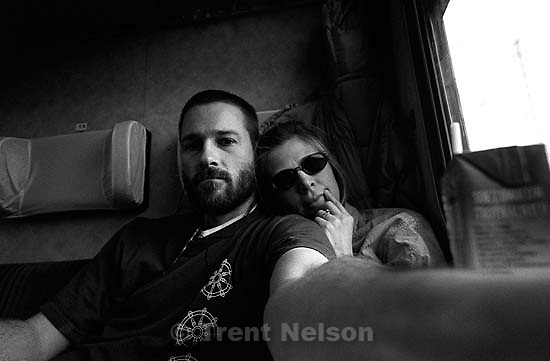 Trent Nelson and Laura Nelson on the train from Krakow to Warsaw.<br />