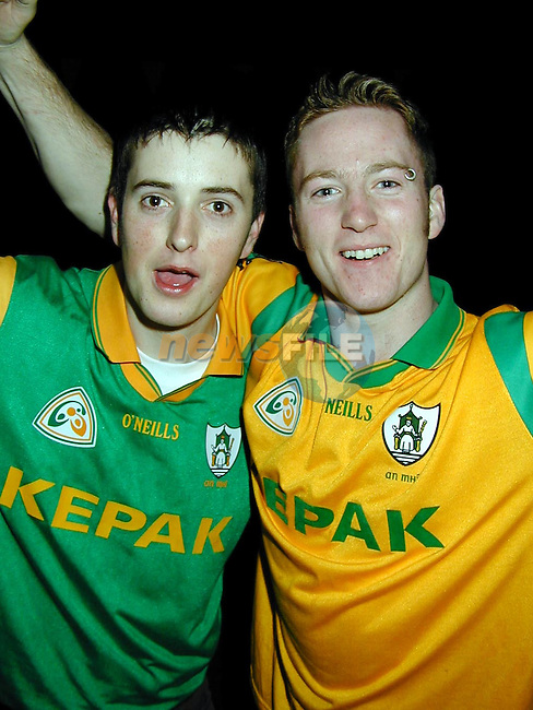 Ian and Ross McCloskey, Mornington, celebrating in Morans on Sunday night..Picture Paul Mohan Newsfile