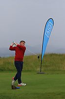 Sean Myatt (Ennis) on the 1st tee during the Munster Final of the AIG Junior Cup at Tralee Golf Club, Tralee, Co Kerry. 13/08/2017<br /> Picture: Golffile | Thos Caffrey<br /> <br /> <br /> All photo usage must carry mandatory copyright credit     (&copy; Golffile | Thos Caffrey)