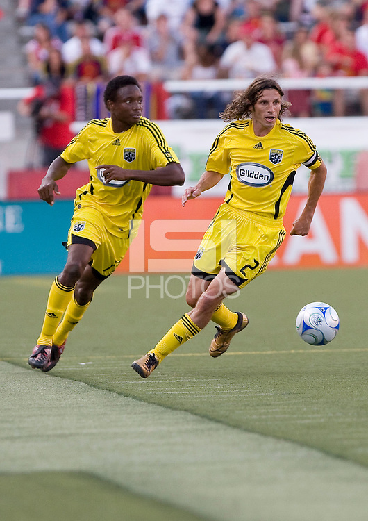 Columbus Crew MF Emmanuel Ekpo (17) and  DF Frankie Hejduk (2) in the Real Salt Lake 2-0 win over Columbus Crew on July 12, 2008 at Rice-Eccles Stadium in Salt Lake City, Utah.