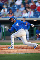 Dunedin Blue Jays shortstop Richard Urena (5) at bat during a game against the Clearwater Threshers on April 8, 2016 at Bright House Field in Clearwater, Florida.  Dunedin defeated Clearwater 8-3.  (Mike Janes/Four Seam Images)