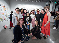 "Group photo of the artists, back row from left: Chengtian (Jason) Yu, Tyler Ivy, Sarah Ruiz, Samantha Moua, Dahlia Theriault, Bryan Suh, Naomi Field and Emma Connelly. Front row, from left: August Barringer and Makayla Keasler.<br /> Opening reception for the senior Studio Art comprehensive exhibit, ""Syndicate: A Comprehensive Exhibition"" which features the ten studio art majors from the Class of 2020 working in a wide range of media, including sculpture, ceramics, performance art, photography, painting, drawing and a graphic novel. Dec. 5, 2019 at Oxy Arts on York.<br /> (Photo by Marc Campos, Occidental College Photographer)"
