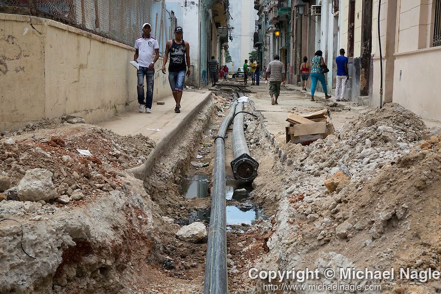 HAVANA, CUBA -- MARCH 24, 2015:   New water pipes are laid in Havana, Cuba on March 24, 2015. Photograph by Michael Nagle