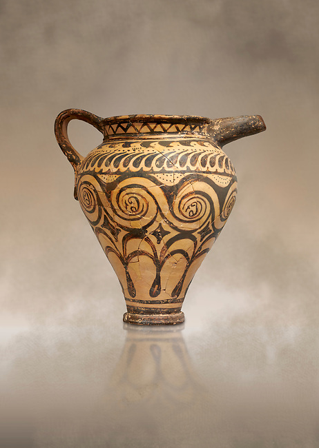 Minoan clay decorated ewer jug, Speial Palatial Tradition , Knossos Palace 1500-1450 BC BC, Heraklion Archaeological  Museum.