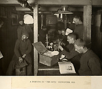 BNPS.co.uk (01202 558833)<br /> Pic: Bonhams/BNPS<br /> <br /> 'The Ritz' - the crew sheltered over winter 1915 in the trapped hull of Endurance.<br /> <br /> Photographic record of one of the worlds most epic tales of endurance...<br /> <br /> Remarkable photos documenting Sir Ernest Shackleton's ill-fated attempt to cross Antarctica over 100 years ago have emerged for sale for £40,000.<br /> <br /> The 1914-17 expedition is remembered for one of the greatest feats of human bravery and endurance after the party became stranded for 18 months in freezing conditions. <br /> <br /> The expedition's official photographer, Frank Hurley, captured their ordeal on camera and made presentation albums when he eventually returned to Britain.<br /> <br /> One album was given to King George V. Seven are believed to survive today, including the one for sale that has been owned by a private collector for over 40 years.
