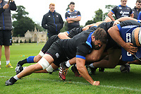 Guy Mercer of Bath Rugby in action at a scrum. Bath Rugby pre-season training session on July 28, 2017 at Farleigh House in Bath, England. Photo by: Patrick Khachfe / Onside Images